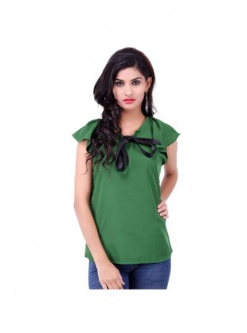 Green Crepe Top With Black Ribbon
