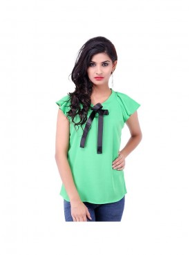 Parrot Crepe Top With Black Ribbon