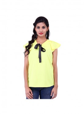 Yellow Crepe Top With Black Ribbon