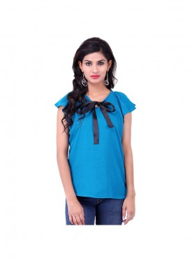 Teal Crepe Top With Black Ribbon