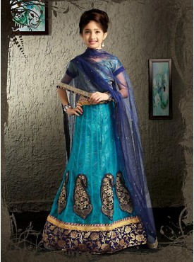 Blue Color Lehenga Cholis For Kids