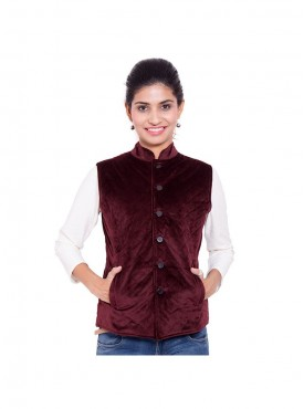 Wine Color Quilted Jacket