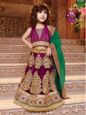 Gorgeous Magenta and Green Kids Lahenga