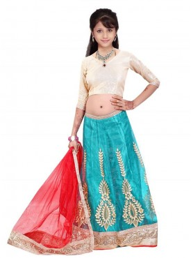 Awesome Red and Silver  Designer Kids Lehenga