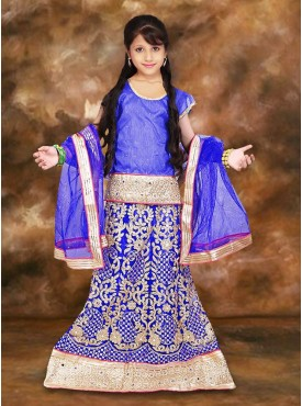 Net  Incredible Blue Color With Embroidery  Lace Work Girl Readymade Lehenga Choli