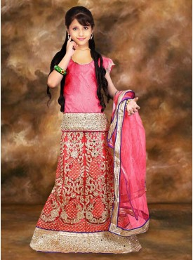 Net  Incredible Pink Color With Mirror  Crystals Stones Work Girl Readymade Lehenga Choli