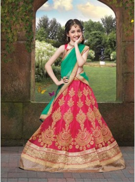 Girl Red Color Lehenga Cholis With Embroidery  Lace Work