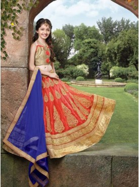 Girl Orange and Beige  Net Fabric Lehenga Choli
