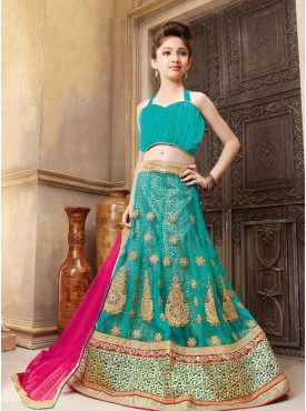 Ideal Light Green and Pink Beige  kids lahenga