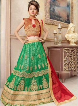 Excellent Mint Green and Red kids lahenga