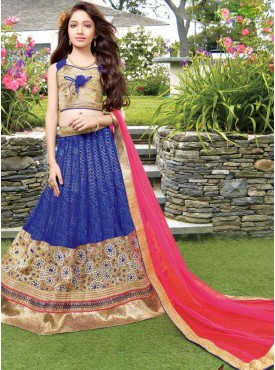 Awesome Blue and Beige Designer kids lahenga
