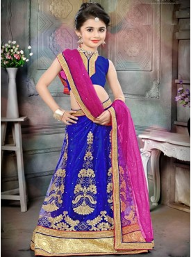 Awesome Blue and Pink Designer Kids Lehenga