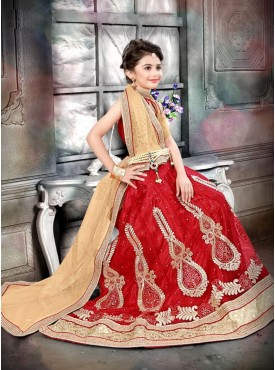 Cool Red and Cream Designer Kids Lehenga