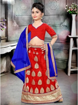 Fabulous Red and Blue Designer Kids Lehenga