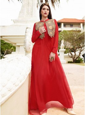 Fabulous Red and Beige  Designer Long Kurti