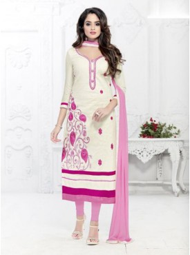 Marvelous White and Pink Salwar Kameez