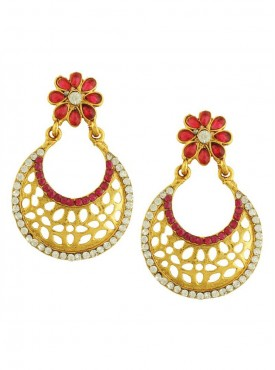 Adorable Gold and Red Stylish Earrings