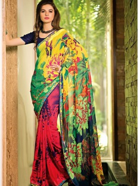 Brilliant Multi Color Designer Saree