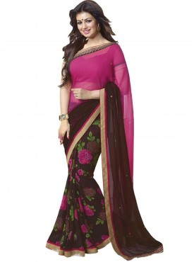 Ideal Brown and Pink Georgette Saree