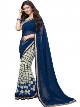Cool Cobalt Blue and White Georgette Saree
