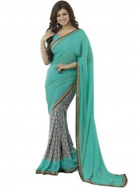 Excellent Turquiose and Grey Georgette Saree