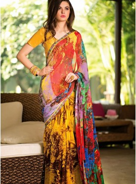 Majestic Multi Color Designer Saree
