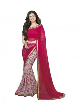 Impressive Dark Pink and Off white Georgette Saree