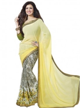 Majestic Light Yellow and Off White Georgette Saree