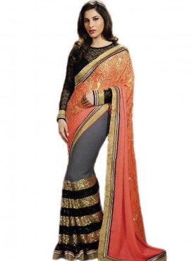 Joyful Orange and Grey Georgette Saree