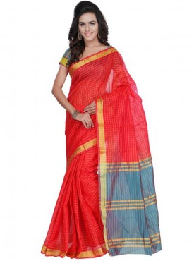 Awesome Red and Blue Designer Saree