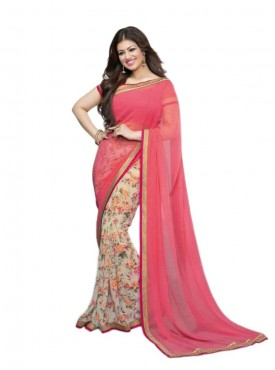 Lovable Pink and Off White Georgette Saree