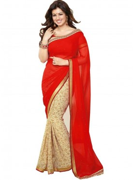 Devotional Red and Beige Georgette Saree