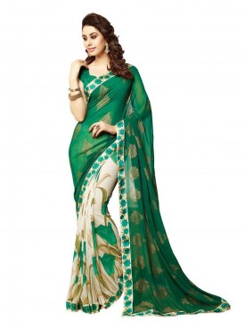 Expressive Green and Off white Georgette Saree