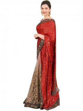 Classical Red and Grey Georgette Saree