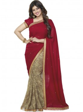 Awesome Maroon and Beige Georgette Saree