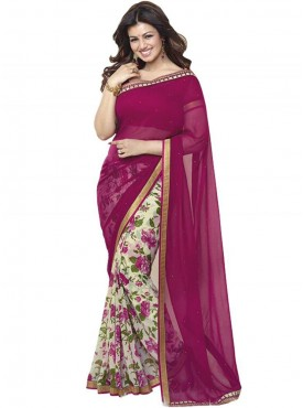 Fabulous Magenta and Off White Georgette Saree