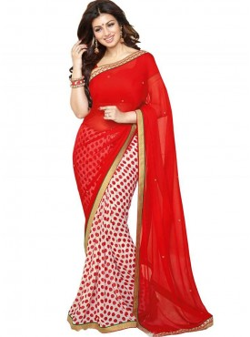 Lovely Red and white Georgette Saree