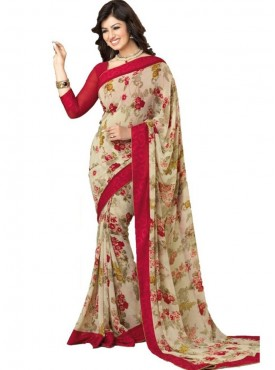 Admirable Beige and Maroon Georgette Saree