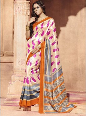 Lovely Cream and Grey Designer Saree