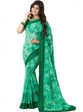 Ideal Green Georgette Saree