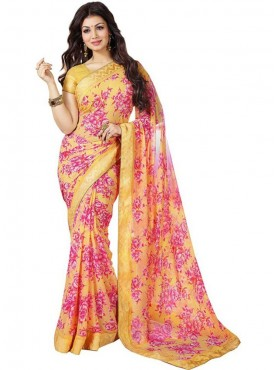 Beautiful Yellow and Pink Georgette Saree