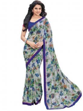 Exotic Blue and Off White Georgette Saree