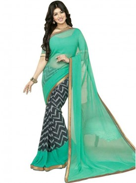 Graceful Light Sea Green and Grey Georgette Saree