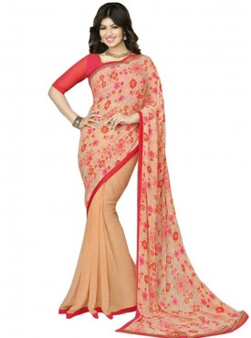 Glorious Beige and Red Georgette Saree