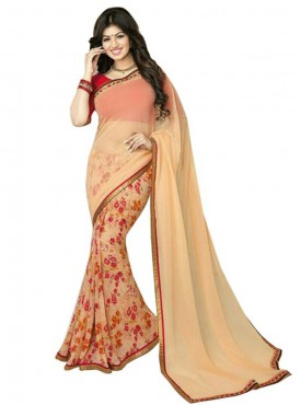 Majestic Beige and Red Georgette Saree