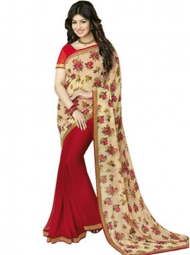 Spectacular Red and Chikoo Georgette Saree