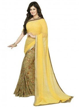 Expressive Yellow and Olive Georgette Saree