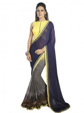 Vibrant Cobalt Blue and Yellow Georgette Saree