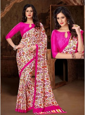 Classical Pink and White Designer Saree