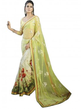 Classical Light Yellow and White Georgette Saree